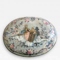 An Oval Floral Decorated Blue Lacquer Box with Female Figures on the Center Top - 270300