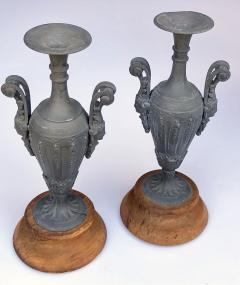 An Pair of French Louis XVI Style Double Handled Spelter Metal Urns - 680344