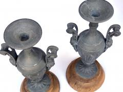An Pair of French Louis XVI Style Double Handled Spelter Metal Urns - 680345