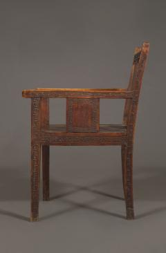 An Pair of Oak Aesthetic Period Armchairs Carved with Greek Mey Motifs - 620563