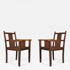 An Pair of Oak Aesthetic Period Armchairs Carved with Greek Mey Motifs - 621615