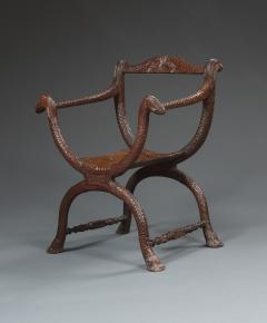 An Unusual Carved Rosewood Chair - 573701