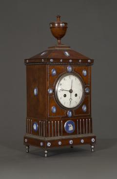An Unusual Mahogany Steel And Wedgwood Mounted Mantel Clock - 1352070