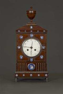 An Unusual Mahogany Steel And Wedgwood Mounted Mantel Clock - 1352071