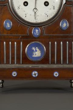 An Unusual Mahogany Steel And Wedgwood Mounted Mantel Clock - 1352072