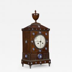 An Unusual Mahogany Steel And Wedgwood Mounted Mantel Clock - 1352889