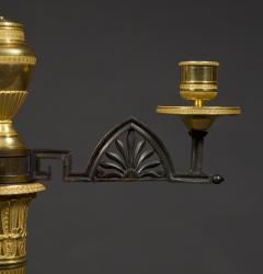 An Unusual Pair Of Gilt And Patinated Bronze Four Light Neoclassical Candelabra - 850354