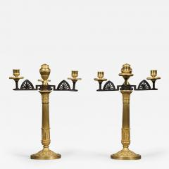 An Unusual Pair Of Gilt And Patinated Bronze Four Light Neoclassical Candelabra - 851767