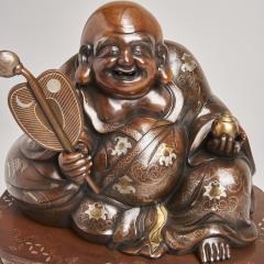 An antique Japanese bronze Okimono of Hotei - 1273924