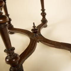 An early Italian turned legs walnut table one drawer circa 1850 - 2129176
