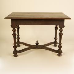 An early Italian turned legs walnut table one drawer circa 1850 - 2129177