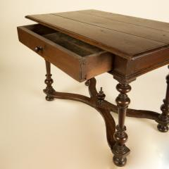 An early Italian turned legs walnut table one drawer circa 1850 - 2129180