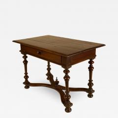 An early Italian turned legs walnut table one drawer circa 1850 - 2130899