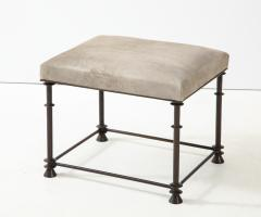 An elegant bronze stool covered with nubuck retourn  - 1578123