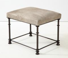 An elegant bronze stool covered with nubuck retourn  - 1578124
