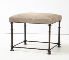 An elegant bronze stool covered with nubuck retourn  - 1578127