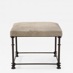 An elegant bronze stool covered with nubuck retourn  - 1580333