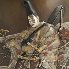 An exquisite Japanese Bronze and multi metal vase depicting a Samurai Archer - 1811018