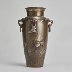 An exquisite Japanese Bronze and multi metal vase depicting a Samurai Archer - 1811023