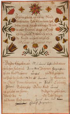 An extraordinary group of seven fraktur from Bucks County PA - 1467195