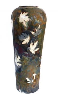 An impressively large American raku ceramic art pottery vase signed - 2131020