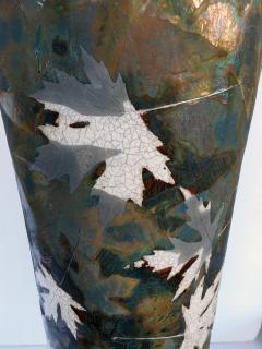 An impressively large American raku ceramic art pottery vase signed - 2131029