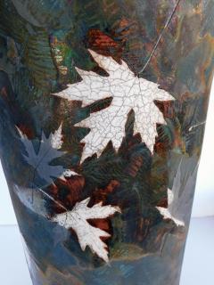 An impressively large American raku ceramic art pottery vase signed - 2131033