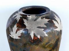 An impressively large American raku ceramic art pottery vase signed - 2131034