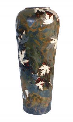 An impressively large American raku ceramic art pottery vase signed - 2131035