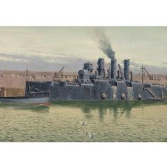 An oil on canvas by R G Thurgood HM Cruiser Vindictive April 1918 - 1045563