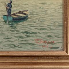 An oil on canvas by R G Thurgood HM Cruiser Vindictive April 1918 - 1045565