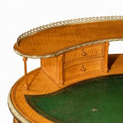 An unusual Victorian freestanding oval satinwood desk - 1629652
