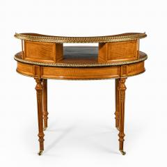 An unusual Victorian freestanding oval satinwood desk - 1629658