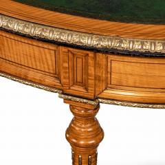 An unusual Victorian freestanding oval satinwood desk - 1629662