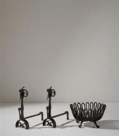 Andirons and Wood Holder in Wrought Iron - 1894690