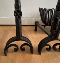 Andirons and Wood Holder in Wrought Iron - 1894692