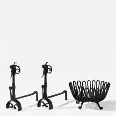 Andirons and Wood Holder in Wrought Iron - 1898832