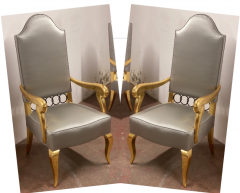 Andr Arbus Andre Arbus attributed majestic pair of gold leaf chairs covered in silk satin - 1903218