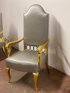 Andr Arbus Andre Arbus attributed majestic pair of gold leaf chairs covered in silk satin - 1903242
