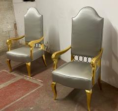 Andr Arbus Andre Arbus attributed majestic pair of gold leaf chairs covered in silk satin - 1903244