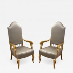 Andr Arbus Andre Arbus attributed majestic pair of gold leaf chairs covered in silk satin - 1905047