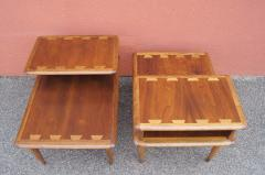 Andr Bus Pair of Walnut and Oak Acclaim Collection End Tables by Andre Bus for Lane - 1433972