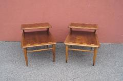 Andr Bus Pair of Walnut and Oak Acclaim Collection End Tables by Andre Bus for Lane - 1433973