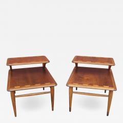 Andr Bus Pair of Walnut and Oak Acclaim Collection End Tables by Andre Bus for Lane - 1448590