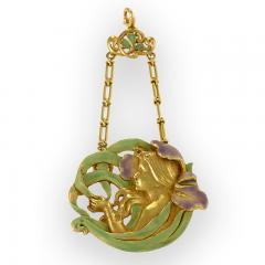 Andr Rambour Andr Rambour Art Nouveau Gold and Enamel Pendant - 175703