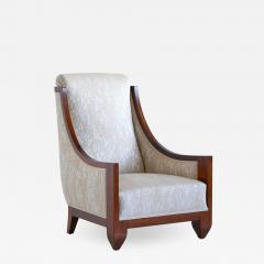 Andr Sornay Andr Sornay Art Deco Armchair in Walnut and Dotted Jacquard France Late 1920s - 1446390