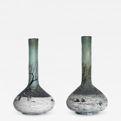 Andre Delatte Art Nouveau Pair Cameo Glass Nancy Vases Andre Delatte Daum - 1184764