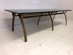 Andre Renou Jean Pierre Genisset Renou et G nisset Custom Gilt Wrought Iron and Redwood Dining Table - 1530168