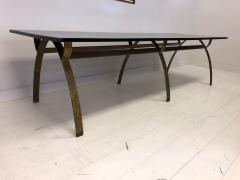 Andre Renou Jean Pierre Genisset Renou et G nisset Custom Gilt Wrought Iron and Redwood Dining Table - 1530169