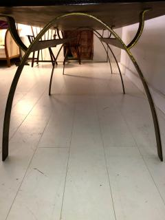 Andre Renou Jean Pierre Genisset Renou et G nisset Custom Gilt Wrought Iron and Redwood Dining Table - 1530170